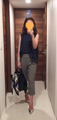 Navy top: martinique, Khaki pants: Tomorrowland, Scarf: manipuri, Bag: ZAC Zac Posen, Silver heels: Jimmy Choo