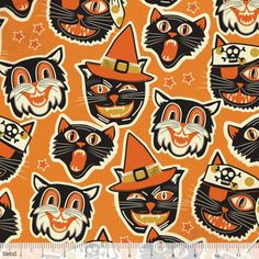 Spooktacular Too Cat-tastic in Black (retro Halloween pattern) by Maude by FabricWhimsyToo Retro Halloween, Halloween Quilts, Halloween Fabric, Halloween Images, Halloween Patterns, Halloween Cat, Fall Patterns, Happy Halloween, Halloween Painting