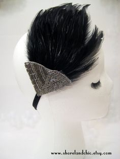 1920s flapper hairpiece, black feather headpiece, Gatsby hairpiece, Lady Mary fascinator, 1920s feather hairband, silver art deco beaded