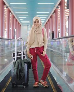 my airport look! pants & sweater from @hijabchic upcoming collection  great day so faarrr!! The best part is always traveling