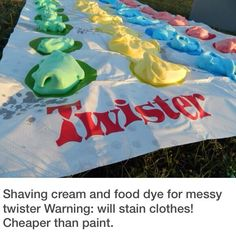 Messy Twister for the summer.  Shaving cream and food coloring might be cheaper than paint.
