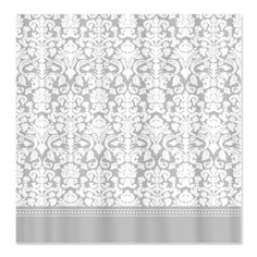 Grey damask shower curtain - for bathroom with grey, white and pink tiles.