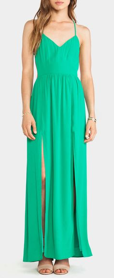 Emerald mint maxi dress | Love this color but not the slits..