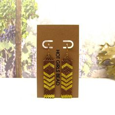 Chevron Earrings Handmade Canary yellow peyote by SeedDreams, $75.00