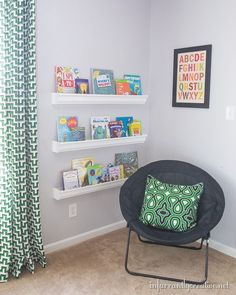 My boys reading nook with the turtle malachite fabric and the jigsaw malachite curtains! #hgtvhomemagic