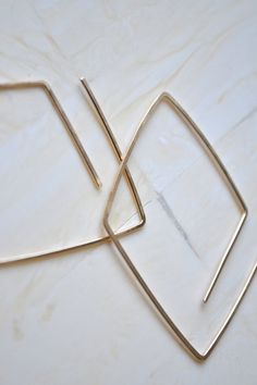 Gold Hoop Earrings Geometric Gold Earrings Simple by SummerBucket
