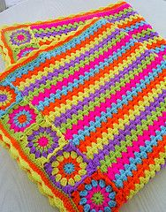 another granny stripes and squares blanket