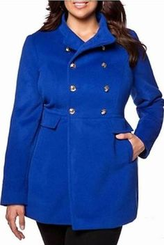 Plus Size Blue Pea Coat - A great Plus Size Blue Pea Coat is an essential component of your fashion in cold weather and it is among the very important purchasing decisions you will make this season. A good Plus Size Blue Pea Coat can actually elevate Green Fashion, Winter Fashion, Fashion Rocks, Women's Fashion, High Fashion Outfits, Plus Size Winter, Mantel, Plus Size Fashion, Cute Outfits