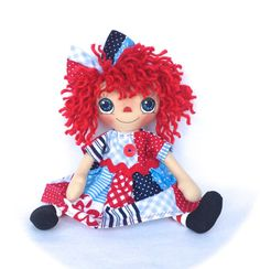 Primitive Raggedy Ann Doll Red White And Blue by cottoncandydolls, $35.00