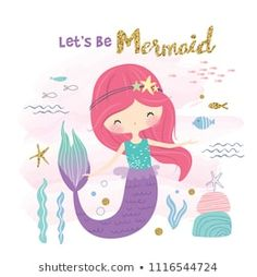 Cute Little Mermaid Marine Life Cartoon Stock Vector (Royalty Free) 1116544724 Mermaid Marine, Mermaid Sign, Mermaid Wall Decor, Baby Mermaid, The Little Mermaid, Cute Vector, Mermaid Clipart, Watercolor Mermaid, Baby Painting