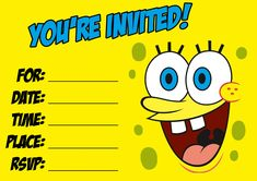 Download this Spongebob Party Invitation! http://birthday-invitation-templates.blogspot.com/2010/11/spongebob-invitation.html