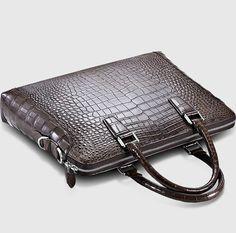Luxury Alligator Briefcase, Luxury Alligator Laptop Bag for Men-Brown-Top Leather Laptop Bag, Leather Briefcase, Crocodile, Leather Bag Tutorial, Satchel, Crossbody Bag, Laptop Bag For Women, Briefcase For Men, Bag Storage