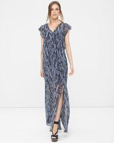 White House   Black Market Feather Print Maxi Dress