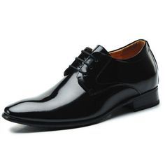 Black  elevated shoes 7cm / 2.75inch with the SKU:MENZGL_19722756009 - High quality leather men's elevator business dress shoe height increasing 7cm / 2.75inches wedding shoes