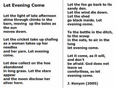 Let Evening Come, Jane Kenyon