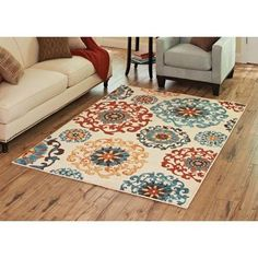 Better Homes and Gardens Suzani Area Rug, Multi-Colored - Brighten up your room with the Better Homes and Gardens Rug, Suzani. This decorative accent features colorful medallions in warm reds, blues and yellows on a cream background for a contemporary and chic look. It is made with Olefin yarn. It is also stain resistant, so it can be used in... - http://ehowsuperstore.com/bestbrandsales/home-garden/better-homes-and-gardens-suzani-area-rug-multi-colored