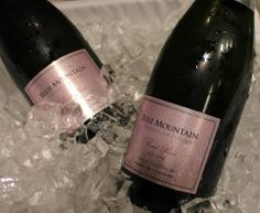 Blue mountain on ice Sparkling Wine, Blue Mountain, Ice, Drinks, Bottle, Drinking, Beverages, Flask, Drink