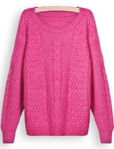 Rose Red Long Sleeve Chunky Cable Knit Sweater EUR€19.56
