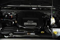 2014 Jeep Wrangler Unlimited in Sahara Tan Kevlar Exterior: Engine View