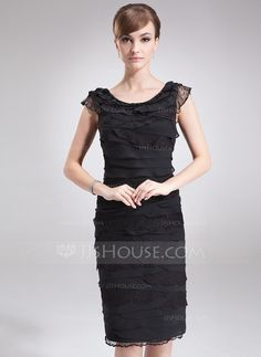 Mother of the Bride Dresses - $162.99 - Sheath Scoop Neck Knee-Length Chiffon Lace Mother of the Bride Dress (008006505) http://jjshouse.com/Sheath-Scoop-Neck-Knee-Length-Chiffon-Lace-Mother-Of-The-Bride-Dress-008006505-g6505