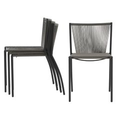 Sold in sets of 4 stackable chairs at a good price but also purchasable individually.Seat and back in mass dyed polypropylene cord in choice of grey, tabac or black