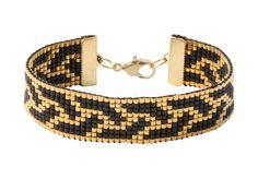 gewebtes Perlenarmband, in schwarz und gold