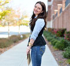 MaeAmor - black leather peplum, vigoss jeans, striped button down, ostrich clutch