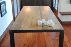 Reclaimed Chestnut Wood and Steel Dining Table