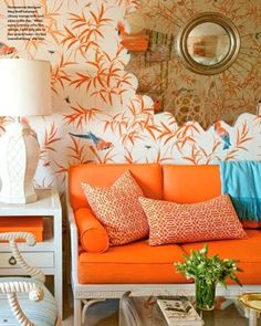 Tropical Style living room in Tangerine Orange and a shot of Turquoise Blue.