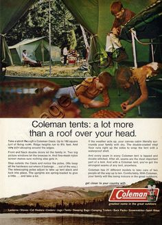 Vintage Rv Rv C&ers Tents Daddy Hiking Tent & 1970 coleman pop up camper - Google Search | Camping days ...