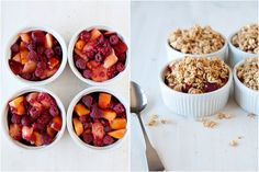 Peach Raspberry Crisp  1 1/2 cup fresh raspberries  4 medium peaches, pitted and cut into chunks, about 3 cups  2 teaspoons corn starch  2 tablespoons maple syrup  Topping  1 1/2 cup old fashion oats   1/4 cup brown sugar  1/4 teaspoon cinnamon  4 tablespoons butter or coconut oil  1/2 cup pecans