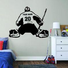 ALL HOCKEY STICKERS Hockey Goalie, Hockey Mom, Hockey Players, Ice Hockey, Baseball Wall, Baseball Girls, Wall Stickers Room, Wall Decal Sticker, Hockey Bedroom