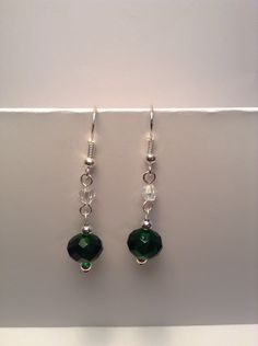 Green dangle earrings with Swarovski crystal accents by Shaylasjewelrybox on Etsy