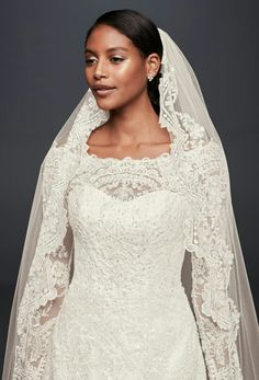 Scalloped Lace Edge Cathedral Length Wedding Veil by Oleg Cassini Collection for David's Bridal