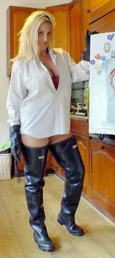 club rubberboots and waders pinterest and eroclubs. Blonde in thigh boots waders. #RaincoatsForWomenGirls