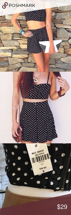 NWT LF polka dot bustier top New with tags size small, adjustable straps, padded. Can be worn as a bra or bustier crop top LF Tops Crop Tops