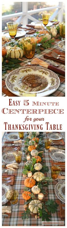 Create a natural centerpiece for your Thanksgiving table in 5 minutes!   homeiswheretheboatis.net  OMGEEE! I love the setting with all the different turkey plates!!!