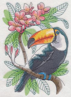 TOUCAN-IN-WATER-SET-OF-2-HAND-TOWELS-EMBROIDERED-by-laura