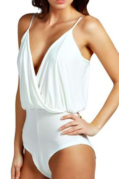 Stylish White Spaghetti Strap Deep V Neck Bodysuit