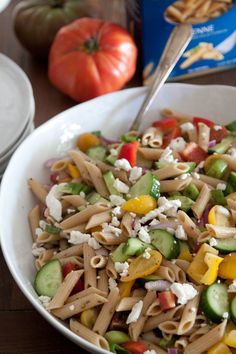 Greek Pasta Salad via What's Gaby Cooking