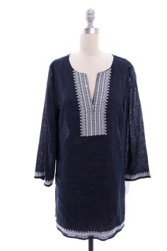 d3cd7cdced TORY BURCH Blue Embroidered Linen Tunic Dress Sz L Linen Tunic Dress