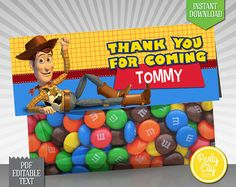 instant download editable text pixar toy story favor bag topper printable fold over - Toy Story Activity Center Download