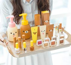 This Japanese beauty collection is every Rilakkuma lovers' dream! Who is your favorite kawaii character? Kawaii Makeup, Cute Makeup, Rilakkuma, Skin Makeup, Beauty Makeup, Diy Maquillage, Korean Products, Japanese Products, Kawaii Room