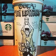Cartoon mashup of the iconic scene from the classic 80s film, Say Anything, except dealing with Starbucks Coffee.