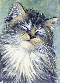 ACEO Original Miniature Watercolor Painting Cats by Elena Mezhibovsky Watercolor Cat, Watercolor Paintings, Watercolours, Cat Hug, Dog Cat, Realistic Cat Drawing, Cat Years, Cat Whisperer, F2 Savannah Cat