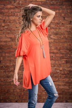 Highest Of Hopes Top, Coral || We have the highest of hopes for you and this top! We know you will look amazing it it's beautiful coral color it's precious ruffled sleeves! This top is simply adorable! All you need is a fun necklace and some chic footwear!