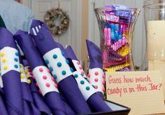 Plastic ware & napkin bundles for a Candy Land or Willy Wonka theme.