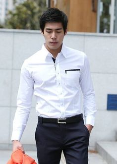 e92d67c927c White New Style Men Long Sleeve Skinny Color Blocking Blends Dress Shirt