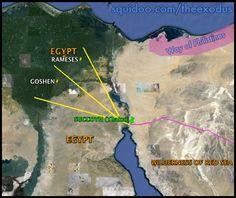 Evidence for the Exodus trail out of Egypt. Straight through the Sinai Peninsula. Exodus Map Red Sea Egypt to Succoth Sinai