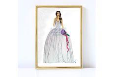 Fiaba by @MissStyleCreazioni. Print, Bride Illustration, Fashion Illustration. Stampa di un'illustrazione Sposa disegnata a mano. Abito da sposa stile principessa. #hauteCouture #weddingDrawing #WeddingDress #Sketch  #Bride #real bride #print #anniversaryGifts
